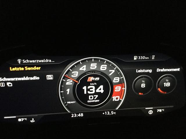 schnelles Auto: Tacho des Audi R8 performance